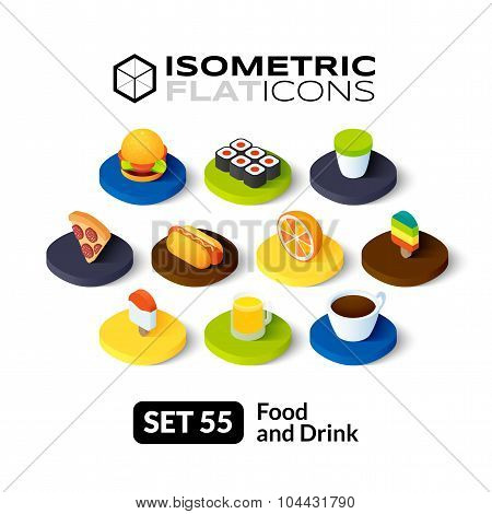 Isometric flat icons set 55