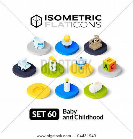 Isometric flat icons set 60