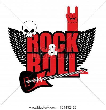 Rock And Roll Logo. Electric Guitar And Skull. Logo For Lovers Of Rock Music. Template Logo For Rock