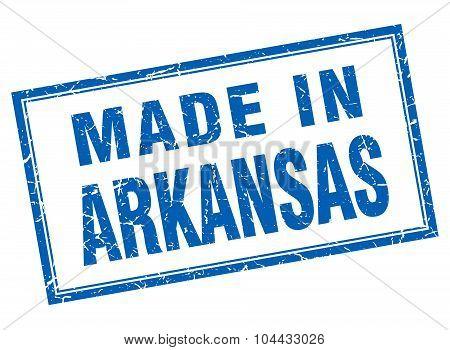 Arkansas Blue Square Grunge Made In Stamp