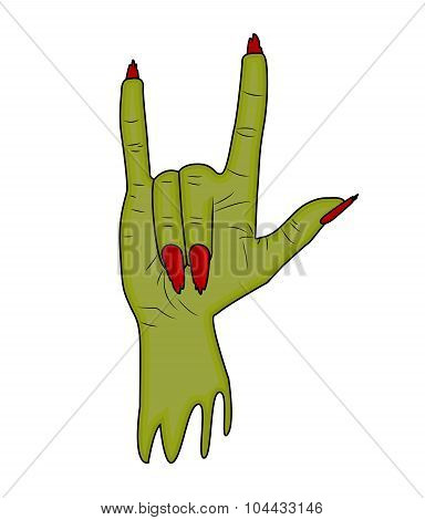 Zombie Hand Horns, Satan Sign Finger Up Gesture Halloween Vector. Realistic Cartoon Illustration Iso