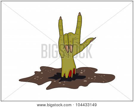 Zombie Hand Horns, Satan Sign Out Of Ground Halloween Vector. Realistic Cartoon Illustration Isolate