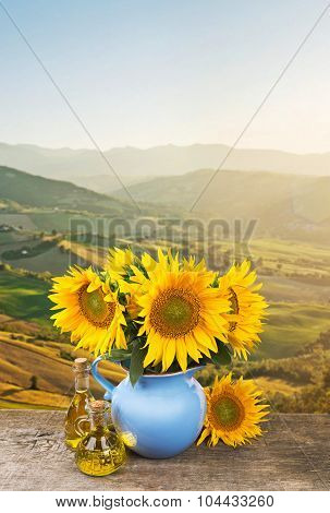 Collage with bouquet of sunflowers on Tuscany landscape backgrou