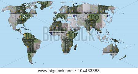 World map made of Euro banknotes