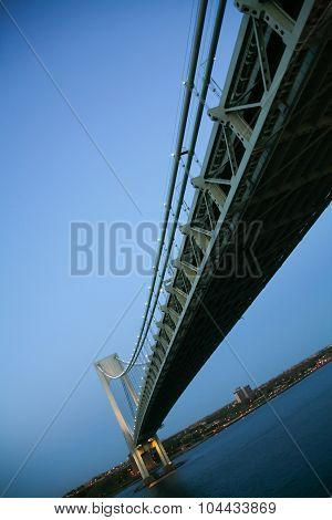 Unusual Angle View Of Verrazano Narrows Bridge