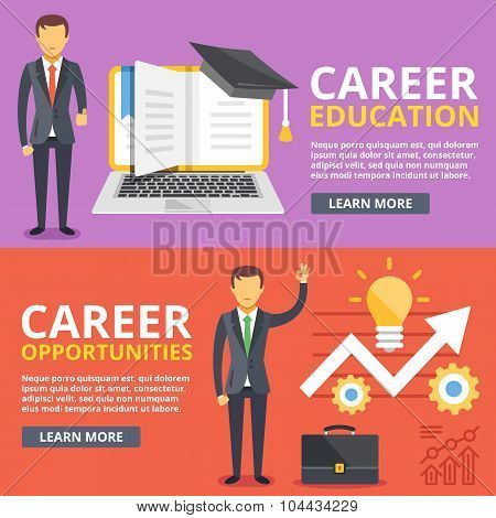 Career education, career opportunities flat illustration concepts set