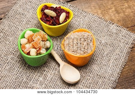 Natural Health Products With Wooden Spoon