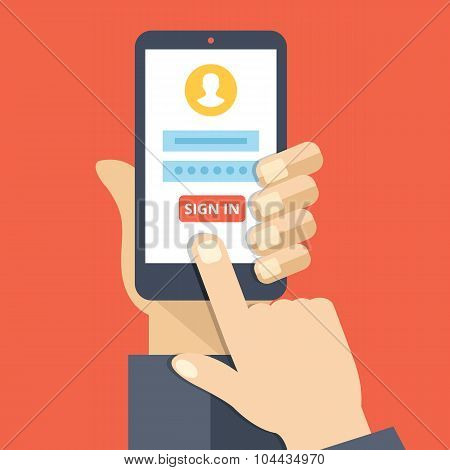Sign in page on smartphone screen. Hand hold smartphone, finger touch sign in button. Mobile account