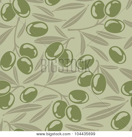 Seamless Background With Green Olives