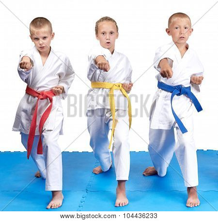 Children in karategi hit punch hand