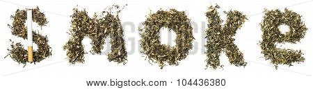 Sign Smoke Made Of Tobacco Leaves With A Cigarette