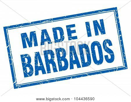 Barbados Blue Square Grunge Made In Stamp