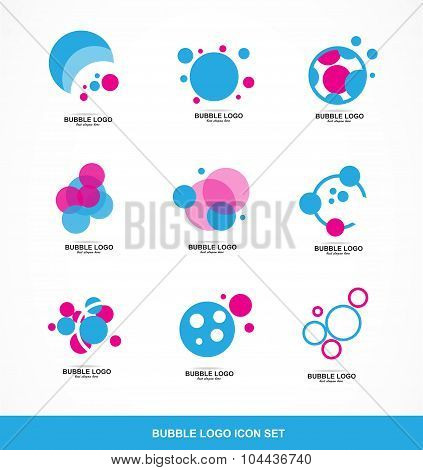 Bubble Circle Logo Icon Set