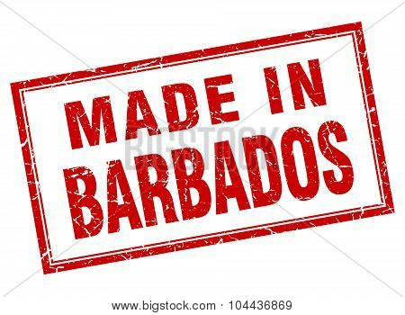 Barbados Red Square Grunge Made In Stamp