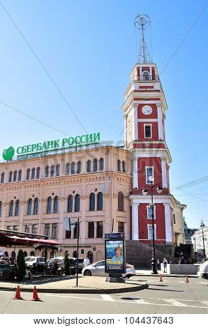 Tower City Council And Sberbank  Building On Nevsky Prospect In Saint-petersburg
