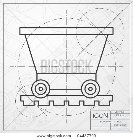 Vetor color flat trolley icon. Epsclassic blueprint of0
