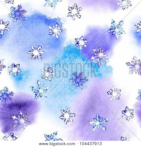 Repeating winter pattern with snowflakes on blotch watercolour