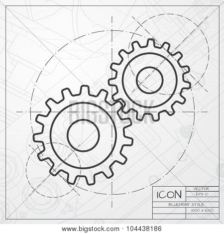 Vector cogwheel icon. Epsclassic blueprint of0