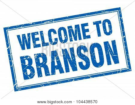 Branson Blue Square Grunge Welcome Isolated Stamp