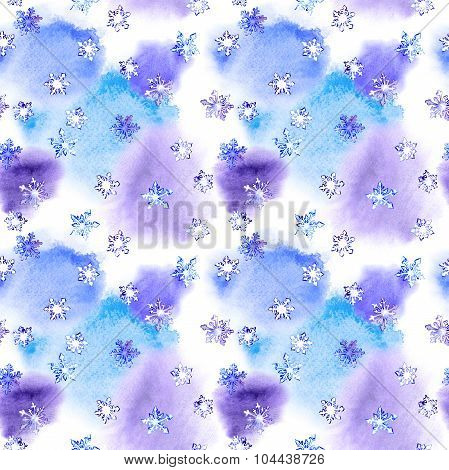 Repeating winter pattern with snowflakes on blotch watercolor