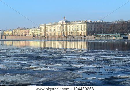 Academy Of Fine Arts At The University Embankment  In Saint Petersburg, Russia