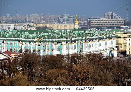 Panorama Of Saint-petersburg, Winter Palace And Hermitage Museum  - Birds Eye View