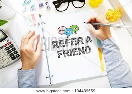 Person Drawing Refer A Friend Concept