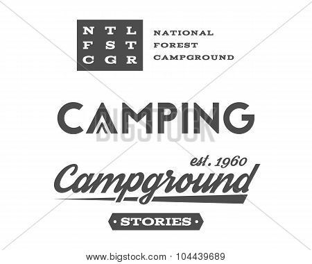 Set of retro camping badges and label logo graphics. Campground, mountain emblems, travel insignia.
