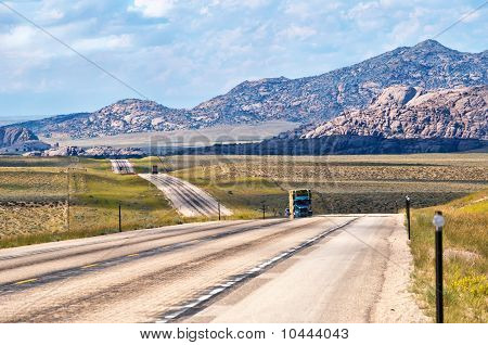 Us Highway 287 In Wyoming Usa
