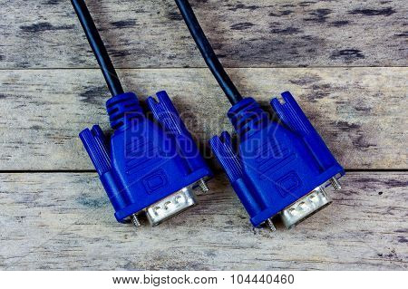 Vga Cable On Wood Background, Close-up