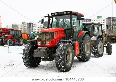 UFA, RUSSIA - MARCH 13: Modern tractor Kirovets K3180ATM exhibited at the annual motor show