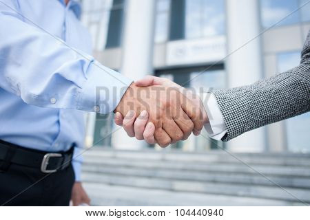 Cheerful business partners made a deal with handshake