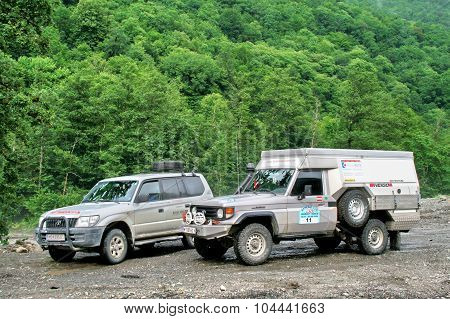 SOCHI, RUSSIA - JULY 20: Toyota Land Cruiser off-road cars take part at the international expedition Germany-Russia (12 July - 08 August 2009) on July 20, 2009 in Sochi, Russia.