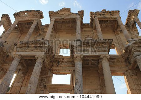 Library in Ephesus antique ruins of the ancient city in Turkey