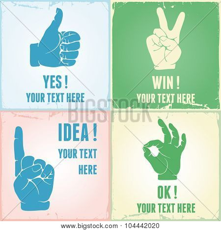 Vintage collection of hand gestures. Silhouettes, vector illustration, grunge background.