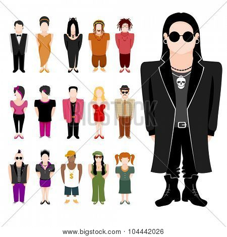 People icon set. Different subcultures in trendy flat style. Vector illustration, isolated on white background.