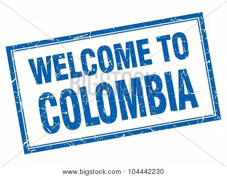 Colombia Blue Square Grunge Welcome Isolated Stamp