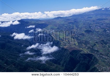 Aerial View Of Gorge And Cafres Plain Reunion Island