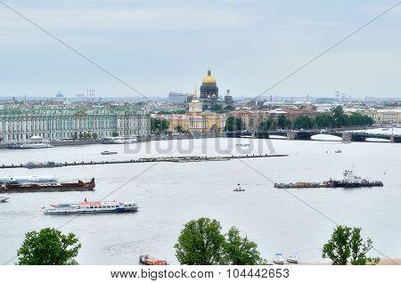 Beautiful Panorama Of St. Petersburg And Water Area Of Neva River - Bird's-eye View