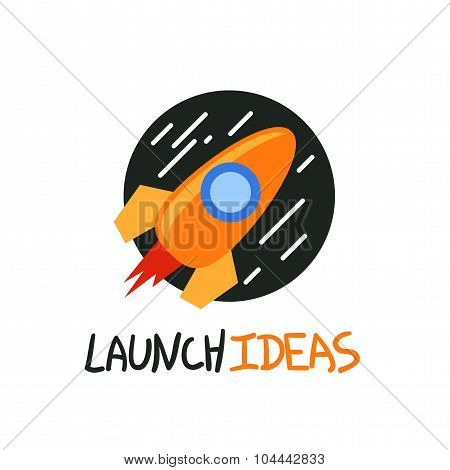 Start up rocket logo, concept vector symbol, trendy flat icon