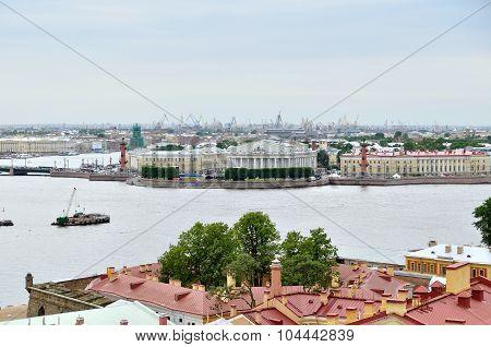 Birds Eye View Panorama Of The Vasilyevsky Island And Water Area Of Neva River  In Saint Peters
