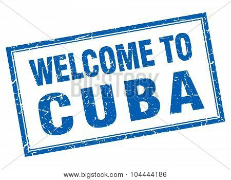Cuba Blue Square Grunge Welcome Isolated Stamp