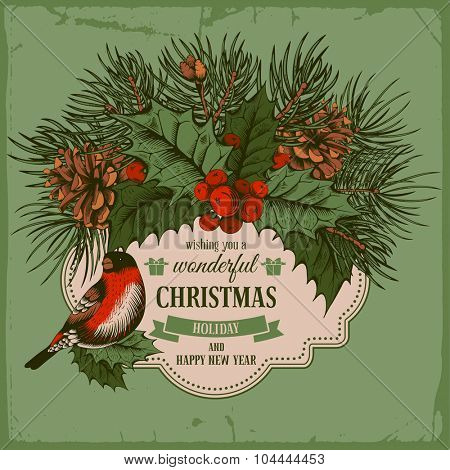 Vintage vector card with hand drawn in engraved style fir tree, poinsettia, holly berries and fir-cone for Christmas. Bird on a branch of holly berry.