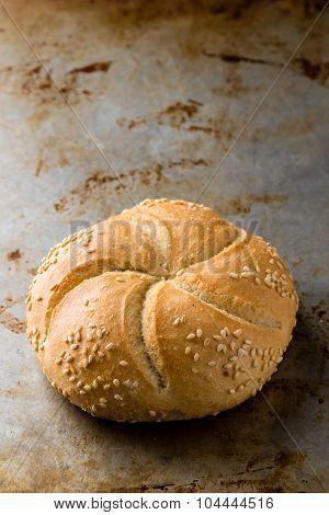 Round Sandwich Bun With Sesame Seeds