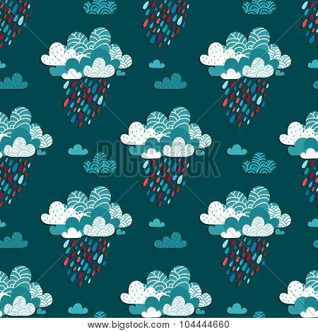 Autumn Seamless Pattern With Bright Rainy Clouds