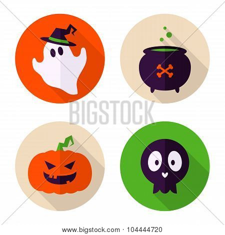 Nice Set Of 4 Flat Style Badges With Halloween Symbols - Ghost, Pumpkin, Cauldron With Potion, Skull
