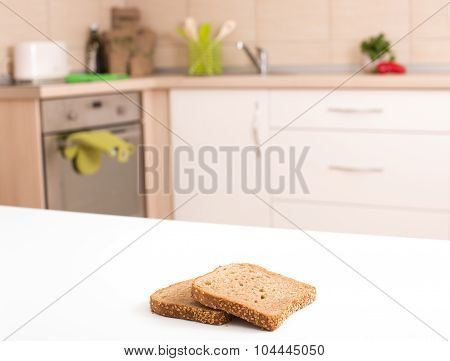 Bread Slices On Countertop