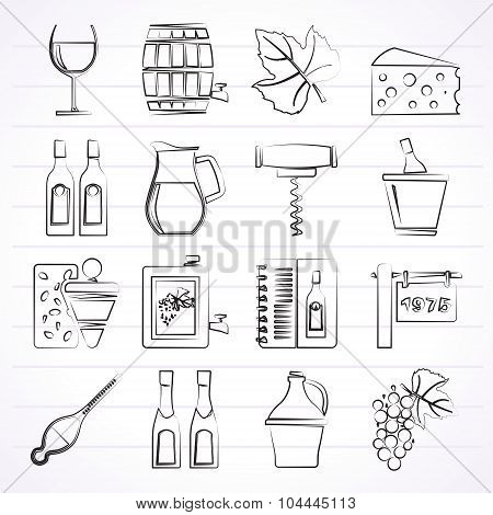 Wine industry objects icons