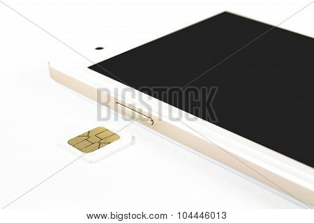 Smart Phone And Sim Card On White Background, Isolated