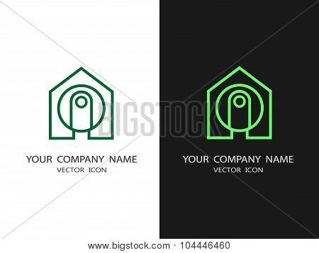 Set Of Logos Cctv Security Systems. House And Video Camera.